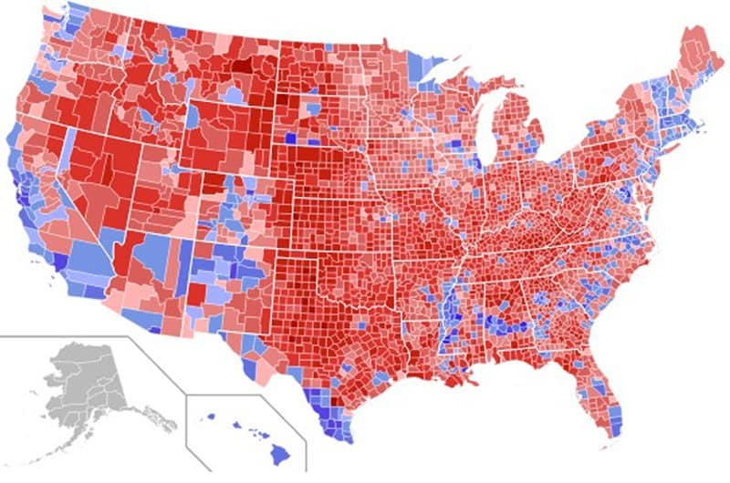 President Trump's Journey Begins: 2016 county electoral map.