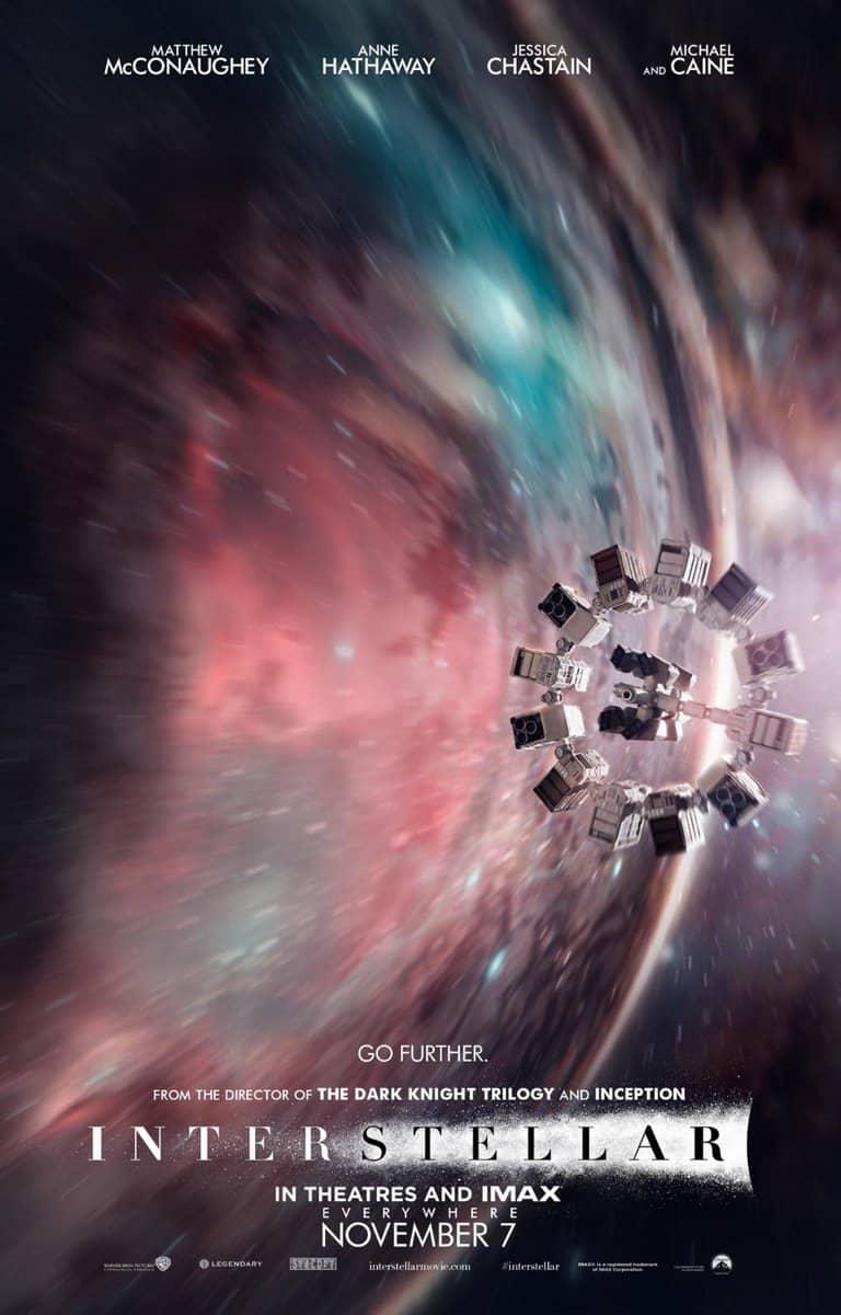"A poster for the 2014 film ""Interstellar"" shows the spaceship Endurance flying through a wormhole. Credit: Paramount Pictures"
