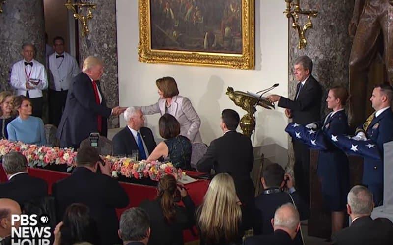 The Trump era has begun. Trump and Pelosi.
