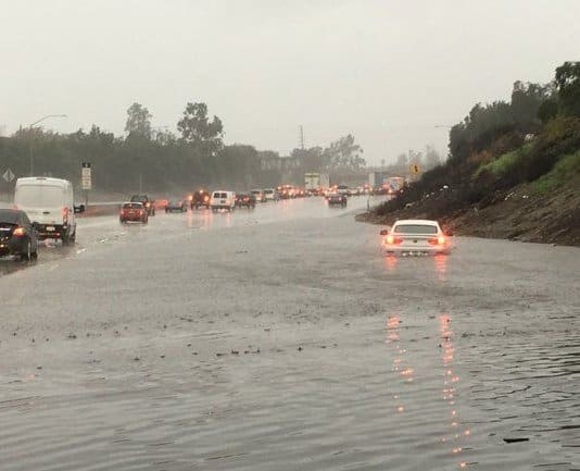 California-Water partially flooded the 5 Freeway at Lankershim Boulevard as rain fell on Feb. 17, 2017. (Credit @Luevano1 Twitter)
