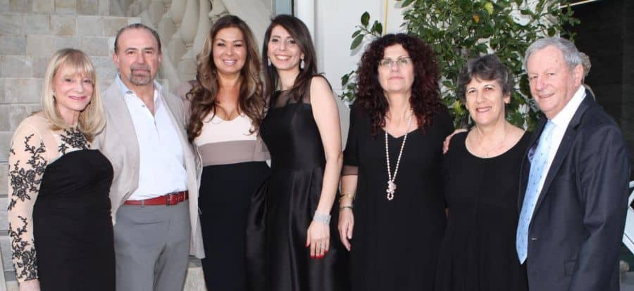 R-Gilad Sheba, Center's General Manager and wife Ruth, supporters Nitza Avidan, Betty Grinstein, Host Tsipi Mani, Host Dani Mani, supporter Raquel Ramati