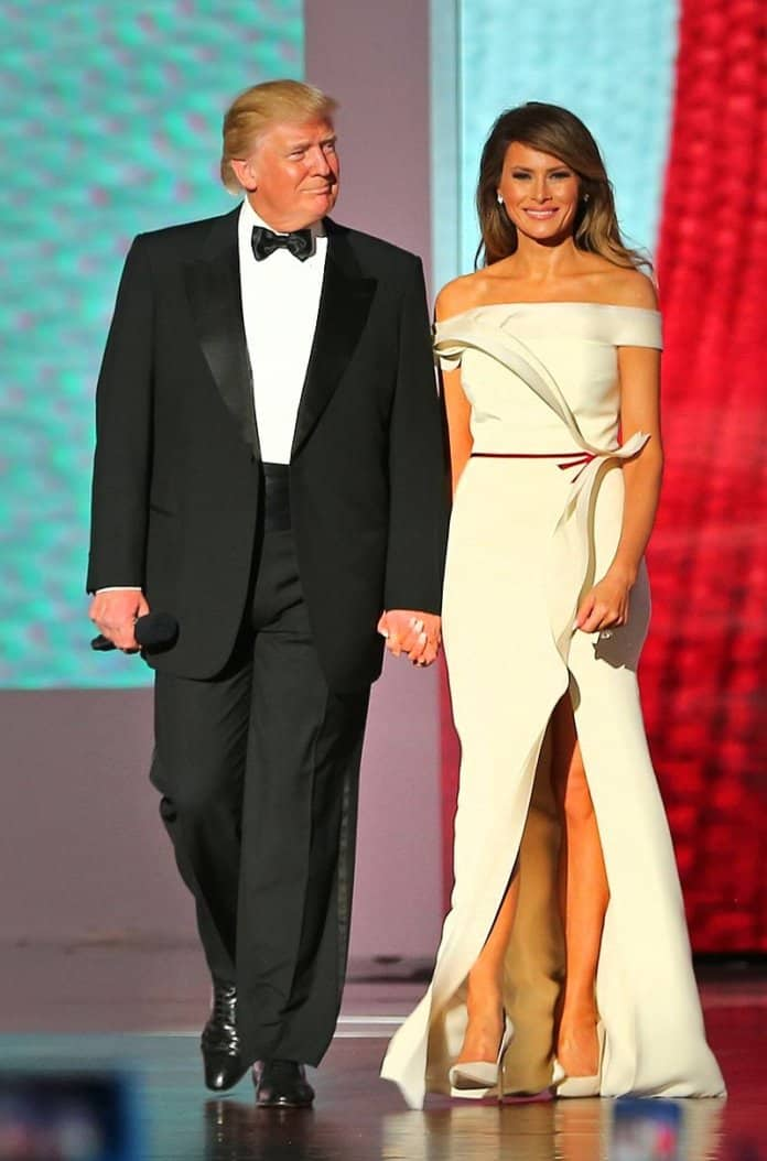 Melania as First Lady, with President Donald Trump, at the Liberty Ball on Inauguration Day. Photo by U.S. Army/Army Sgt. Ashley Marble Public Domain.