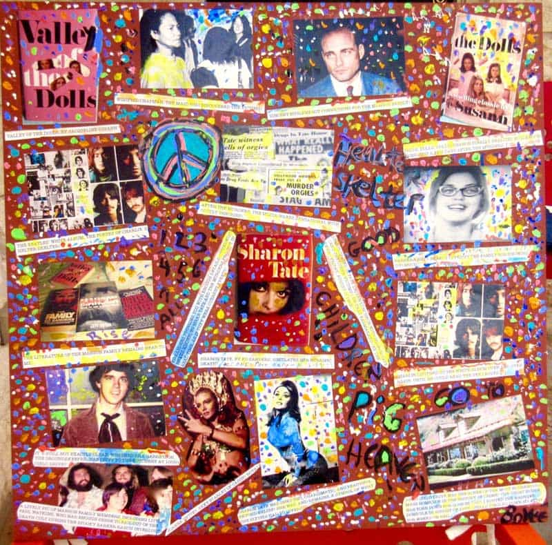 Helter Skelter Crime Board Image Collage, by Claude Bovee (Collage Art - print photos, acrylic & watercolor paints on woodboard)