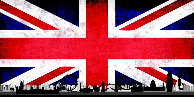 a british flag and london.