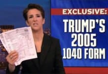 Maddow with Trump 2005 tax return fake news.