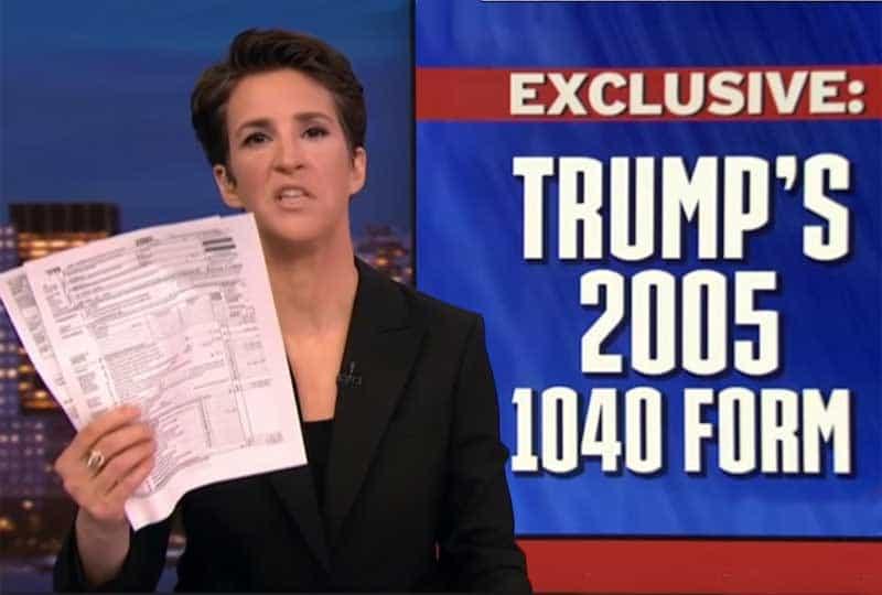 Maddow with Trump 2005 tax return fake news.