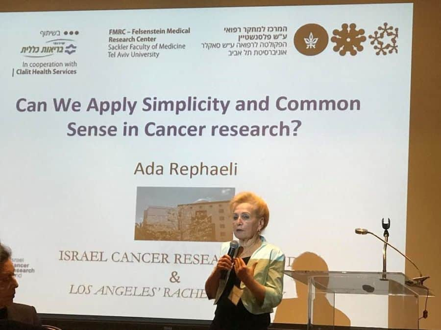 Dr. Ada Rephaeli talks commonsense at the Four Seasons Hotel event. Photo: Nurit Greenger.