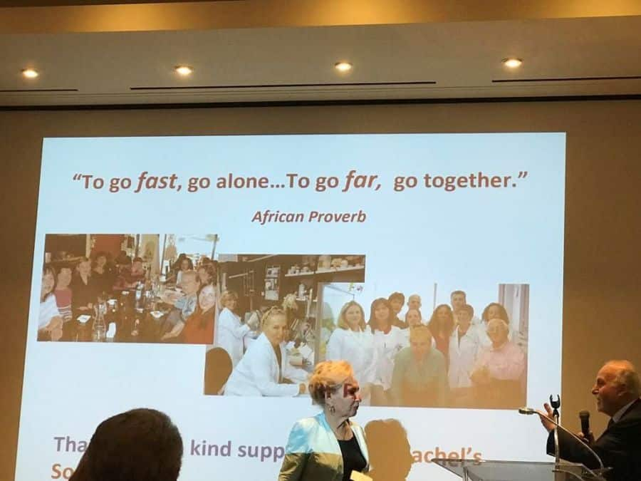 Dr. Ada Rephaeli talking about collaboration at the Four Seasons Hotel event. Photo: Nurit Greenger.