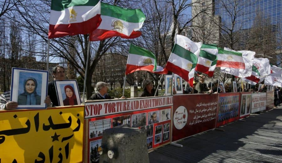 iranian canadians at parliament in Ottawa protest sham elections in Iran.