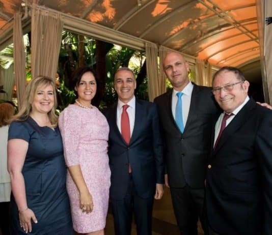 L-Keynote Dr. Shani Paluch, Head, Breast Cancer Service for Young Women, Oncology Institute, Sheba Medical Center Tel Hashomer, Israel; Shoshana Djavaheri Zar, Chair and Board Member; Parham Zar, President; Yoel Hareven, Chief of Staff, Sheba Medical Center; Professor Mordechai Shani, Head of the Sheba Medical Center Foundation in Israel and Director General Emeritus, Sheba Medical Center, Tel HaShomer, Israel - photo Sheba Team.