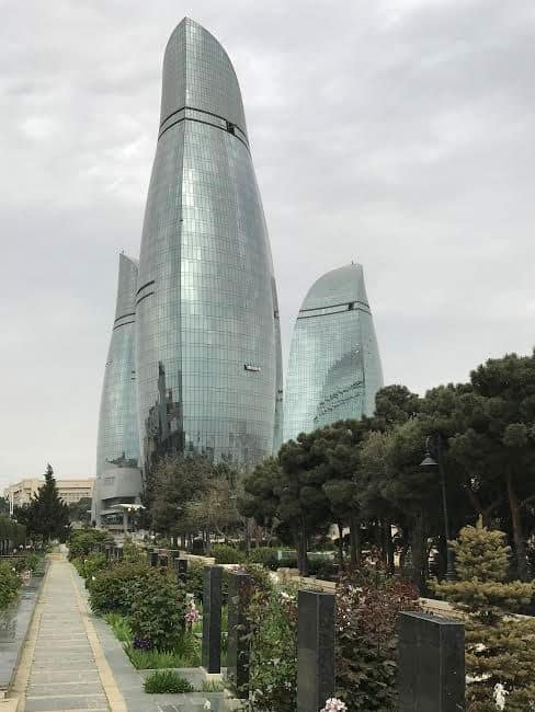 Azerbaijan: Alley of the Martyrs and Baku three buildings icon.