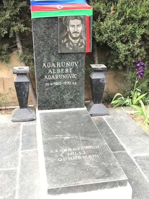 At the Alley of the Martyrs the Jewish National Hero Albert Agarunov's grave; he sacrificed his life to save many others.