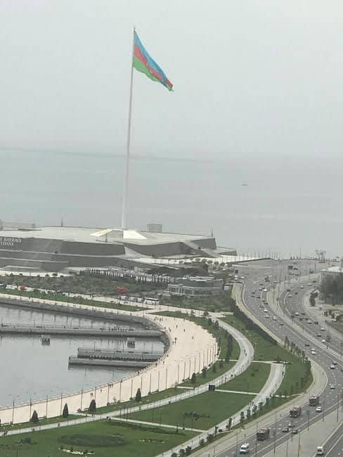 Baku bay - see the largest flag in the country.