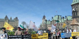 Iranian Canadians protest sham Iranian elections.