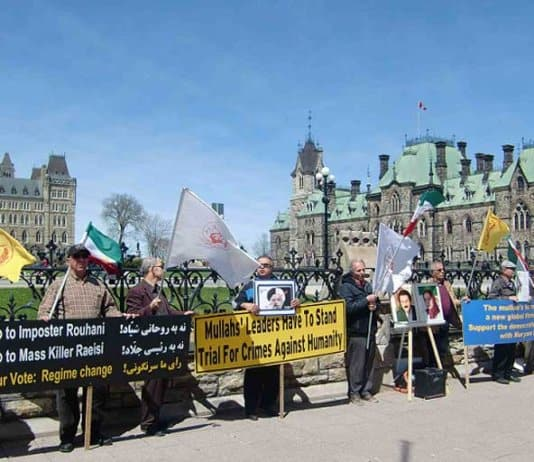 Iranian Canadians protest sham Iranian elections.
