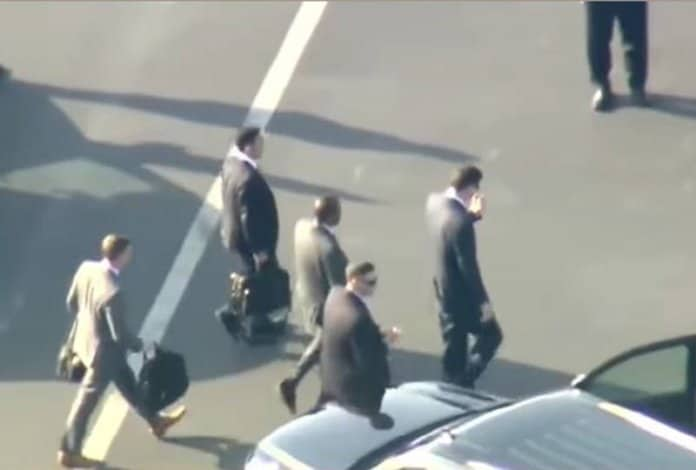 comey boards plane after being fired.