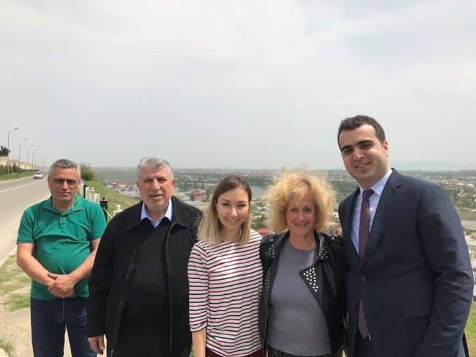 L-our driver Teymur Valiyev, Milikh Yevdayev, Umay Hasanova, me and Elgun Mehdiyev, backgound Quba.