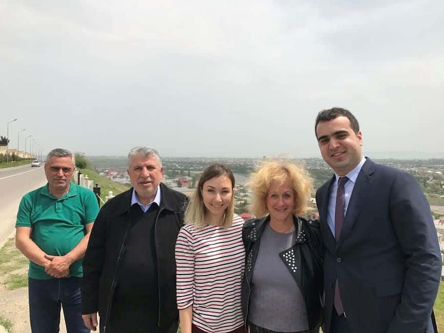L-our driver Teymur Valiyev, Milikh Yevdayev, Umay Hasanova, me and Elgun Mehdiyev, background Quba.
