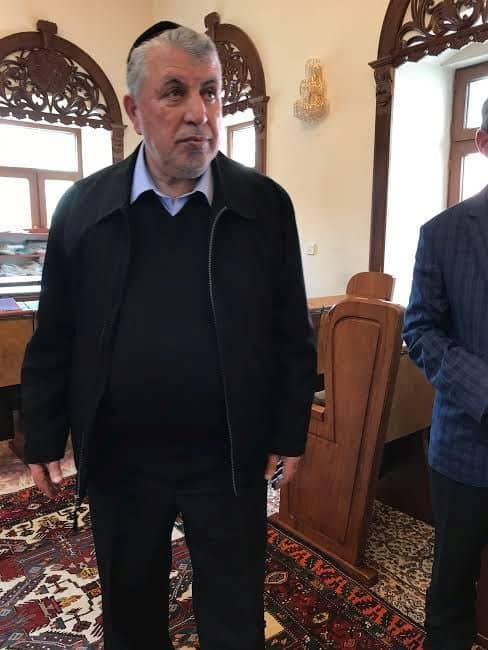 Milikh Yevdayev Chairman of Baku Mountain Jews Community, inside Winter Synagogue.