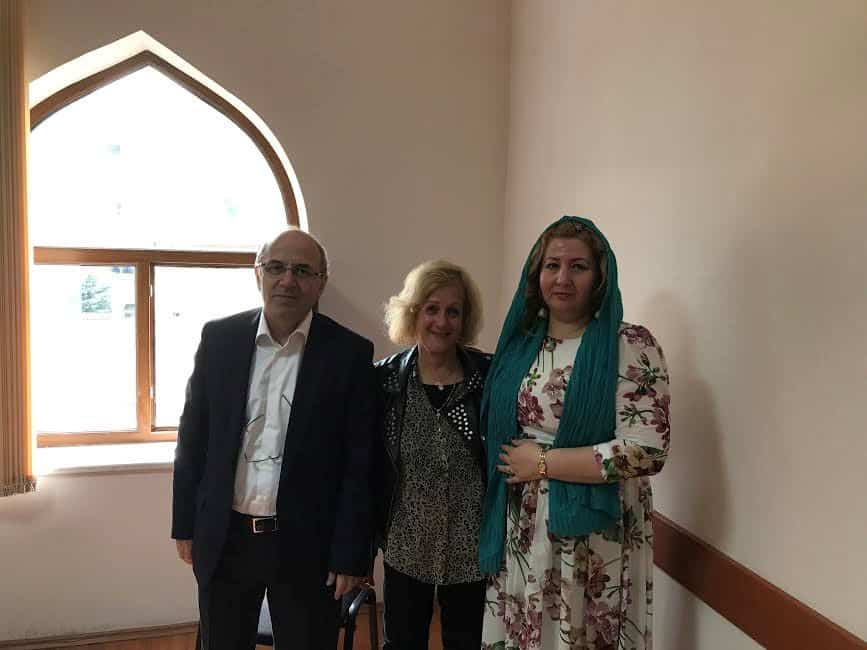 At the Caucasian Taza Pir Mosque with Hasanov Simran Seyfaddin Head of Administration Caucasus Moslem Board and his Press Secretary.