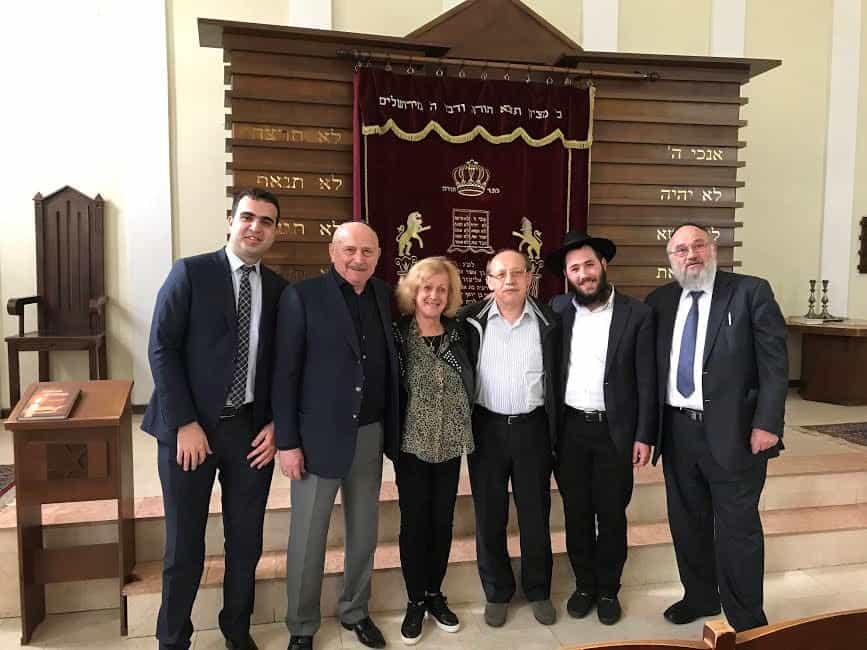 At the Ashkenazi Synagogue with L - Mr. Elgun Mehdiyev, of Foreign Affairs Ministry, Mr. Aleksander Sharavski, Synagogue spokesperson and the Director of Baku Russian Drama Theatre, the writer, Mr. Evgeny Brenneysen, Rabbi Arik Lipker, Gedalya Olshtein Mikvah Specialist
