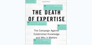 the death of expertise book cover.