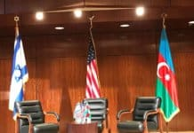 The three countries' flags: USA hosting country, Israel and Azerbaijan