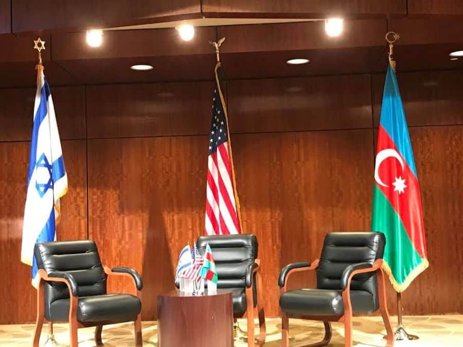 The three countries' flags: USA hosting country, Israel and Azerbaijan.