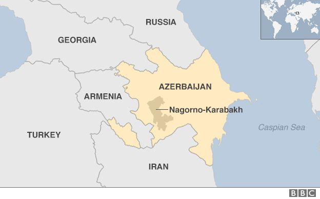 Armenia and Azerbaijan's Nagorno-Karabakh map.