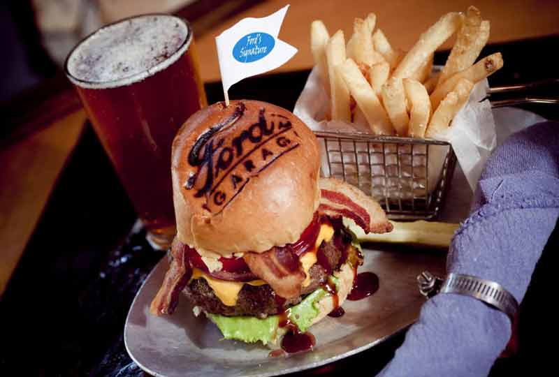 Ford's Garage burger beer.