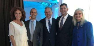 L-Batia Elkayam, wife of Professor Elkayam, Fello Yaron Elad, MD, Uri Elkayam, MD, Sam Grundwerg, Israel consul general, Sarit Finkelstein-Boim , event co-chair.