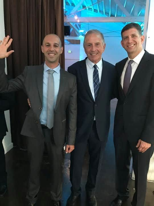 L-Ending his fellowship, Yaron Elad, MD, Uri Elkayam, MD. Sam Grundwerg, Israel consul General.