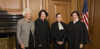 The four women who have served on the Supreme Court. From left to right: Justice Sandra Day O'Connor (Ret.), Justice Sonia Sotomayor, Justice Ruth Bader Ginsburg, and Justice Elena Kagan in the Justices' Conference Room.