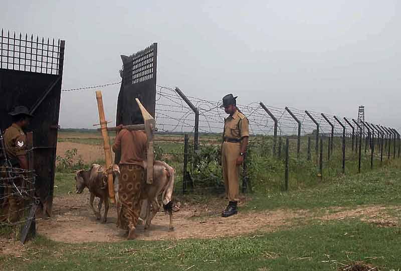 passing through border gate into mans land.
