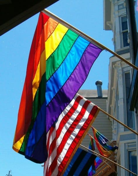 The LGBT and American flags.