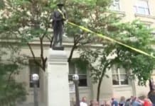 destroying a confederate statue.