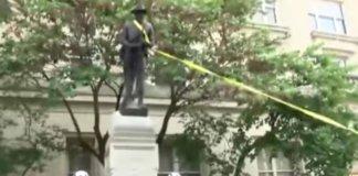 destroying a confederate statue.