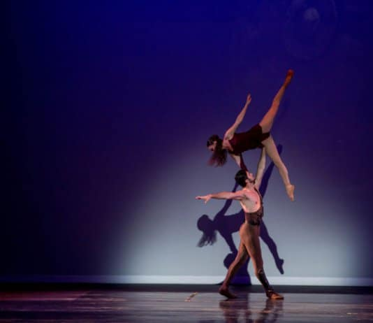 """Eduard Sargsyan (Spartacus) and Inga Demetryan (Phrygia) in a selection from Spartacus, presented by Pacific Ballet Dance Theatre, Natasha Middleton, Artistic Director, as part of """"The Best of Khachaturian"""" at the Alex Theatre in Glendale, CA on Sunday, September 17, 2017 – Photo by Cheryl Mann"""