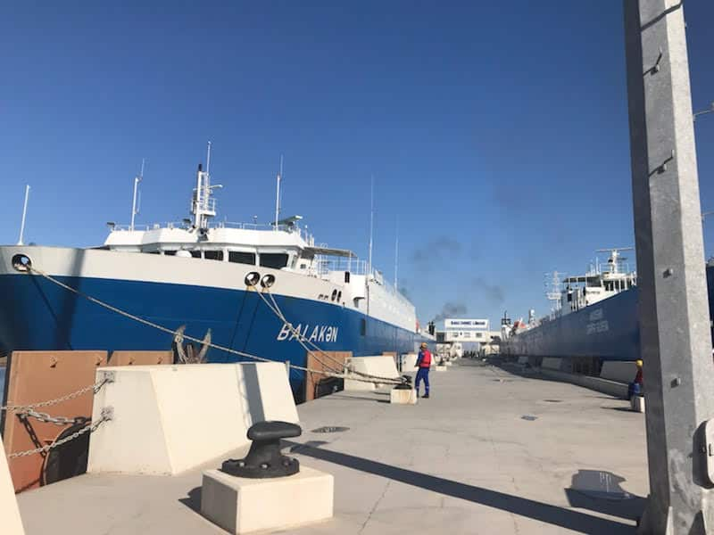 Baku port view.