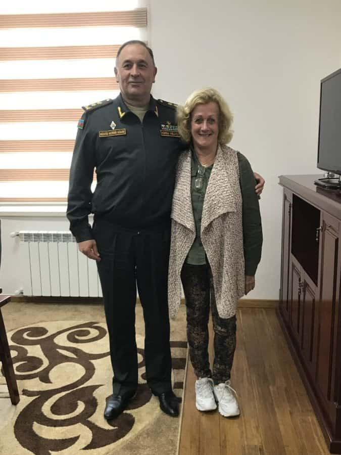 The writer with Defense Minister Deputy-Lt. General Kerim Veliyev