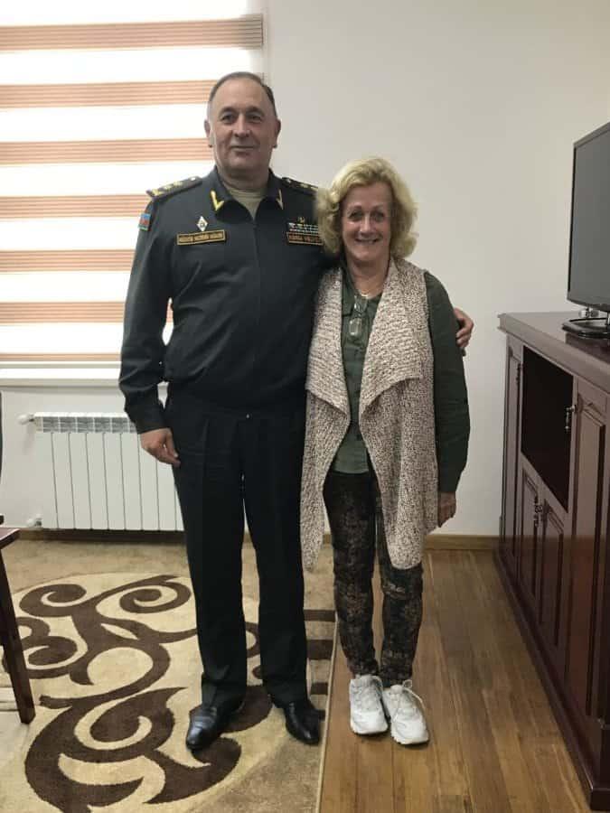 The writer with Defense Minister Deputy-Lt. General Kerim Veliyev