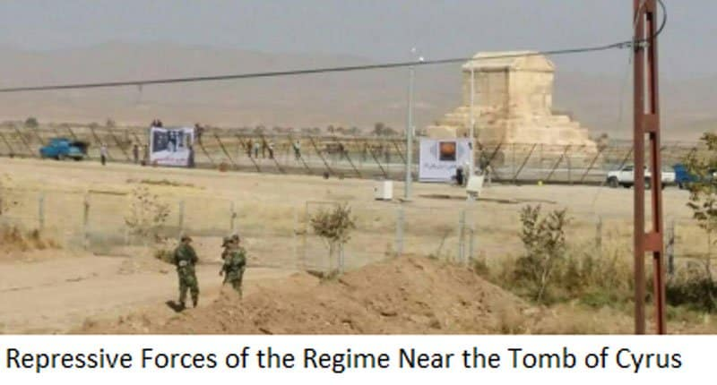 iran regime forces near the tomb of cyrus.