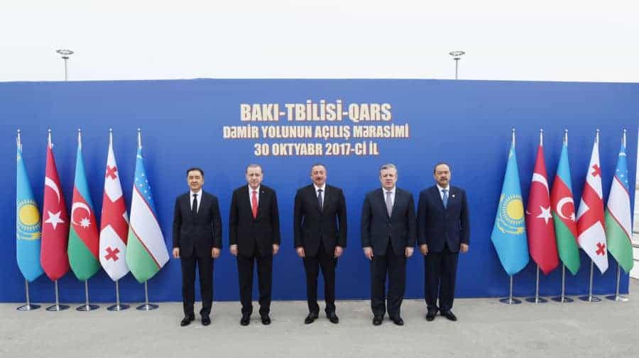 L-Bakytzhan Sagintayev, Kazakhstan's Prime Minister, Recep Tayyip Erdogan, Turkey's President, Ilham Aliyev, Azerbaijan's President, Giorgi Kvirikashvili, Georgia's Prime Minister, Abdulla Aripov, Uzbekistan's Prime Minister
