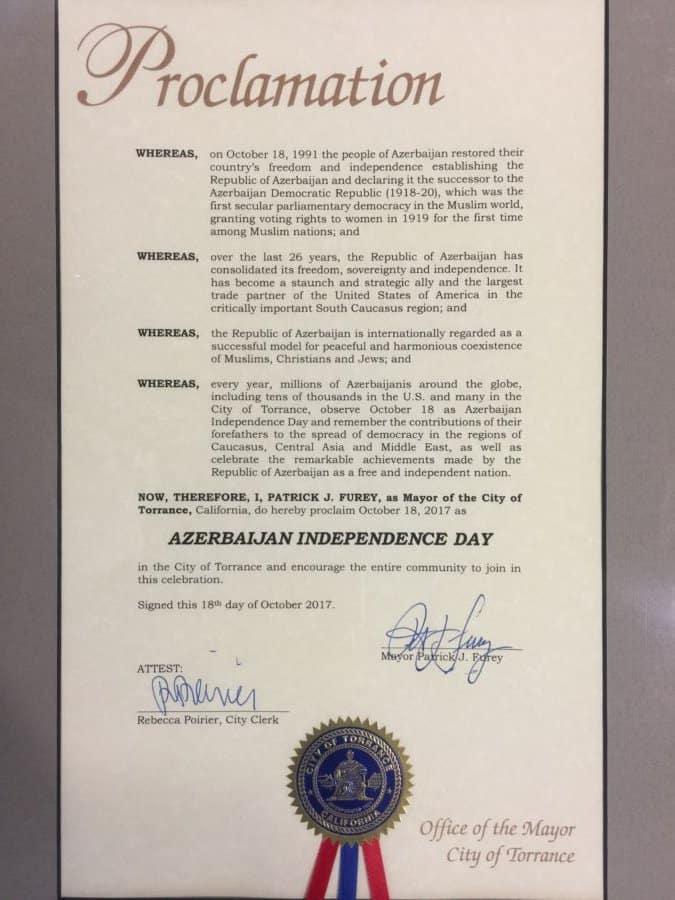 Torrance City Proclamation to Azerbaijan
