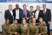 L-David Foster, Seal, former CA governor Arnold Schwarzenegger, Cheryl Haim Saban, Sem Grundwerg, Israel Consul General West Coast USA & IDF visitors-photo Alexi Rosenfeld