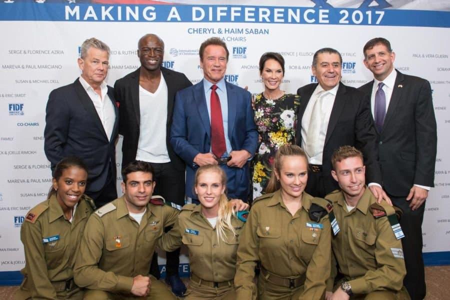 L-David Foster, Seal, former CA governor Arnold Schwarzenegger, Cheryl Haim Saban, Sem Grundwerg, Israel Consul General West Coast USA & IDF visitors-photo Alexi Rosenfeld