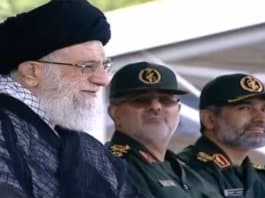 Khamenei watches IRGC parade.