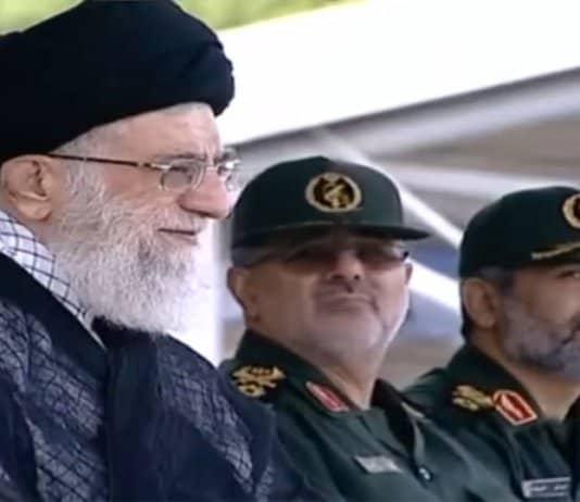 Khamenei watches IRGC parade.