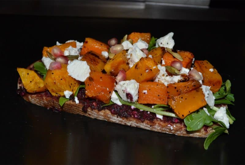 doma butternut squash and goat cheese tartine.