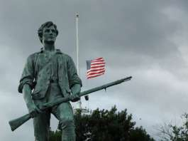 """Minuteman"" by sculptor Henry Hudson Kitson (1863-1947), dedicated April 19, 1900. Erected 1899. 9th Circuit to decide to openly carry."